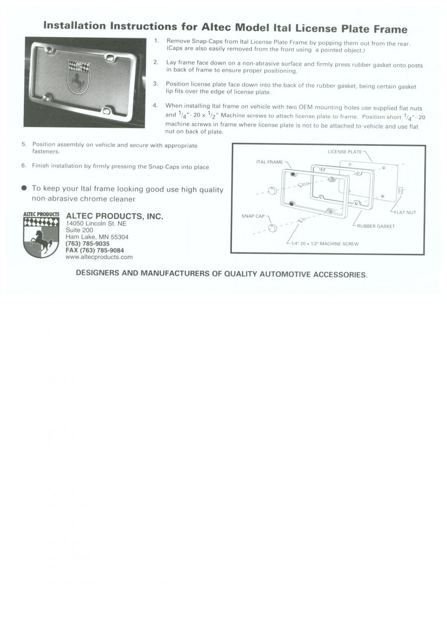 Installation Instructions for Altec Model Ital License Plate Frame ...